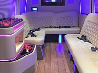 12-14 pass Mercedes Sprinter Limo Party Bus - Interior - grn