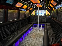 28 pass Black Limo Party Bus w-Pole - Interior - grn