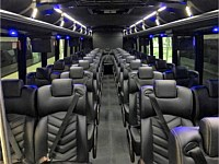39 pass White VIP Coach Bus - Leather Seats & Black Out Blinds - dts