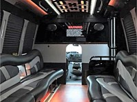 20 pass White Limo Party Bus - Interior - grn1
